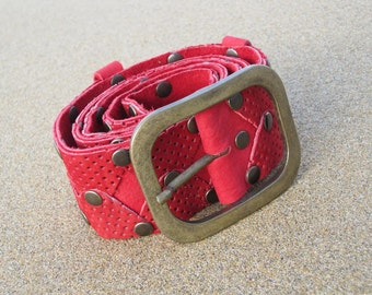 Belt woman leather nubuck, red colour