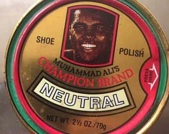 Mohammad Ali Shoe Polish Can RARE highly Collectable Champion Brand Neutral