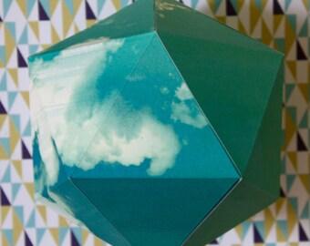 Geometric paper ball - Clouds in blue sky pattern