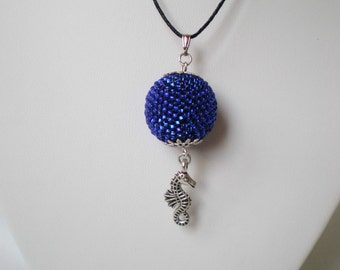 Beaded necklace Sea horse Blue beaded necklace Blue bead Sea necklace Peyote necklace Beadwork Seed bead jewelry Peyote bead Braided bead