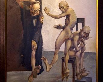 FRIENDS - Oil on canvas, 114x114 cm, wood frame