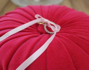 Velvet Wedding Ring Cushion - Vintage Style - Hot Pink