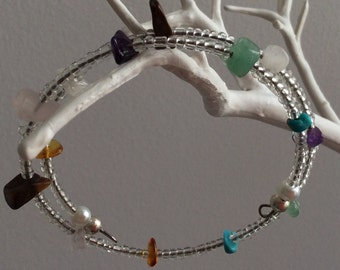 Clear Czech seed beads with semi precious gem stones