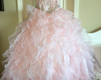 Quinceanera Ball Gown With Detachable Skirt Size 4-6
