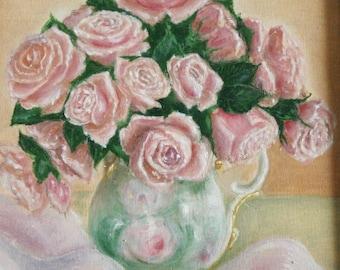 Roses - original oil painting, 30x40 cm, city, art, drawing, illustration, flowers