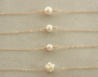 Single Pearl Necklace. Solitaire Pearl Necklace. 14K gold filled. Pearl Cluster Ball. Dainty necklace. Pearl link Necklace. June Birthstone