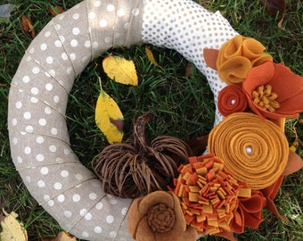 Felt flower wreath• Fall wreath • Pumpkin wreath • Door wreath