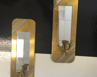 Vintage, Brass, Silver, Mirrored, Candlestick, Sconces