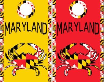 Maryland Flag Crab Colors LAMINATED Cornhole Wrap Bag Toss Decal Baggo Skin Sticker Wraps