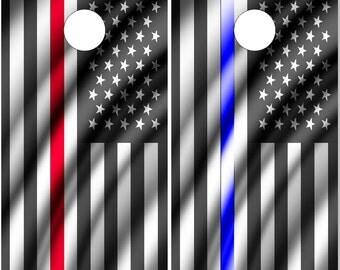 Police Firefighter American Flags Cornhole Wrap Bag Toss Decal Baggo Skin Sticker Wraps