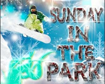 Snowboarding Sunday in the park Cornhole Wrap Bag Toss Decal Baggo Skin Sticker Wraps