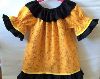 Baby Girls Dress, Little Girl Dress, Long Sleeve Halloween Dress, Childs Dress, Toddler Dress, Baby Dress, Candy Corn Dress, Peasant Dress