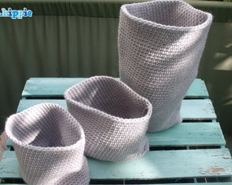 Crocheted baskets gray 3x