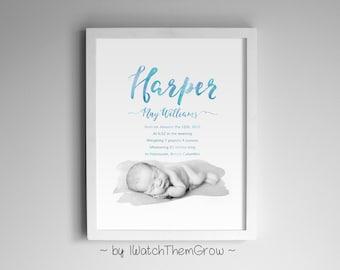 Printable Watercolor Photo Birth Announcement, Custom Birth Stats Art for Nursery, Pink Blue Black, 5x7, 8x10 or 11x14 DIGITAL FILE