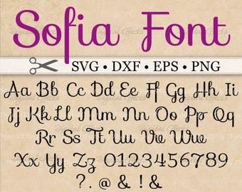 SOFIA Monogram Svg, Dxf, Eps, Png;  Sofia Font Svg, Digital Monogram, Script Font SVG, Cursive Svg, Silhouette Files, Cricut, Svg Cut Files