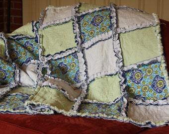 Green/Blue warm cozy Flannel and fleece rag quilt Lap warm quilt