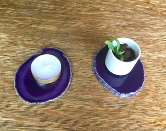 Agate Coasters Set of 2, Agate Candle holder with Candle, Purple Agate Slice Decor, Boho Home Decor  Housewarming Gift, Wedding Gfit