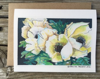 Watercolor Anemones - set of 5 note cards