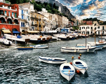 Capri Italy, Boats In Harbor Photo, Isle Of Capri, Italy Seascape, Capri Seascape Scene, Fine Art Photo, Painterly Look