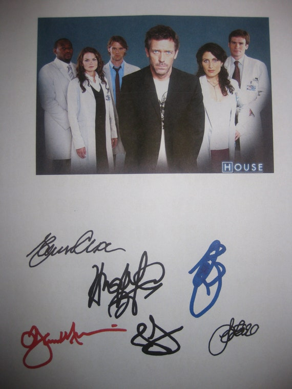 House MD Signed TV Pilot Script Screenplay X6 Autographs Hugh Laurie Omar Epps Jesse Spencer Lisa Edelstein Jennifer Morrison Sean Leonard