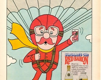 "1970s Seagrams Gin "" The Red Baron "" vintage magazine ad man cave wall decor 1703"