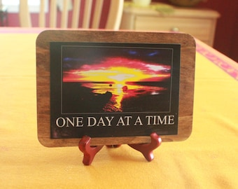 One Day At A Time  Wood Matted Photo Display