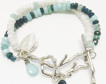 Bracelet Beaded Branch and Twig with Opal, Tanzanite and Apatite Gemstones, leaves, charms