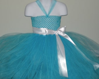 Blue Tutu Dress with White Satin Ribbon