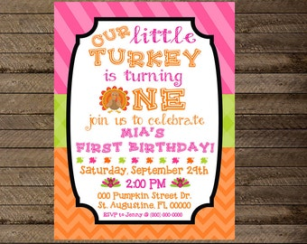 Turkey invite, thanksgiving invite, thanksgiving birthday party, turkey theme first birthday, thanksgiving party theme, 1st, 2nd, fall