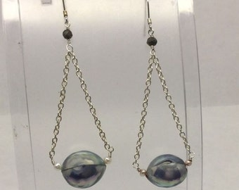 Sterling Silver Pearl Pyrite Drop Earrings