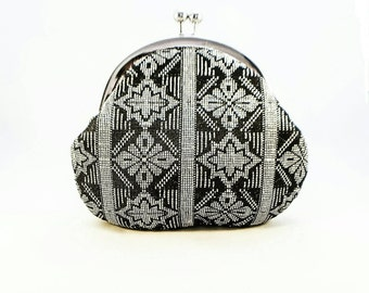Chic Clutch, Songket, Black and Silver, Gold, Unique clutch, Round clutch, Statement clutch, Gift for her, Blue or Green, Bridesmaid gift UK