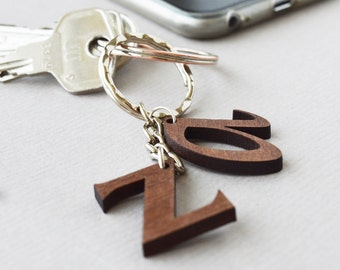 Letter Keyring in Walnut Wood, Wooden Custom Letters Keychain, Initial Charm