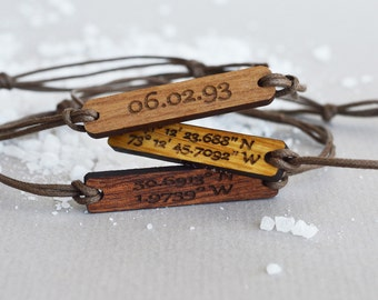 Coordinates Bracelet in Wood, Walnut, Mahogany or Oak Latitude Longitude Bracelet on Cotton String with Round Corners