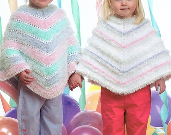 Childrens Poncho's, Knitting Pattern. PDF Instant Download.