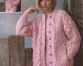 Ladies Cardigan & Sweater Aran Knitted Pattern, Knitting Pattern. PDF Instant Download.