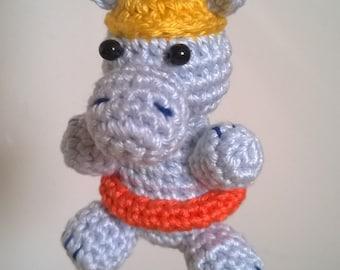 Mini-hippo is ready to swim! (7 cm, crochet)