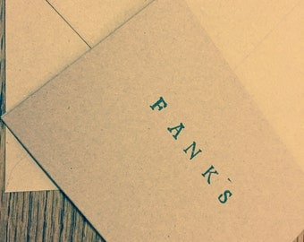 5x 'Fanks' handprinted cards A6