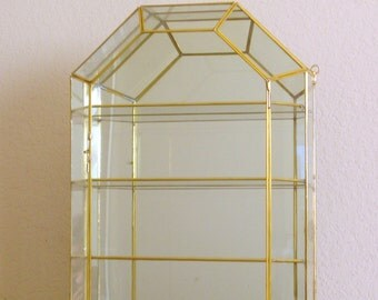Brass And Glass Display Curio Cabinet