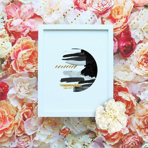 Gold Geometric Printable, Scandinavian Printable Wall Art, DIY Art Print - Minimalist Print- Black&White- Abstract -Instant Download