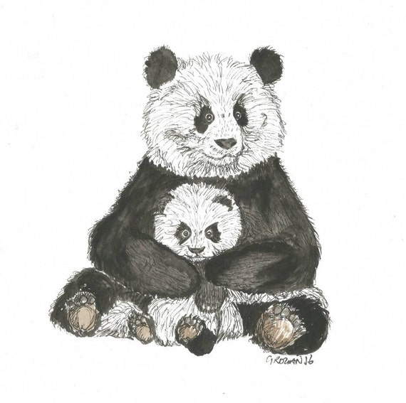 Mother and child panda cute love greeting card