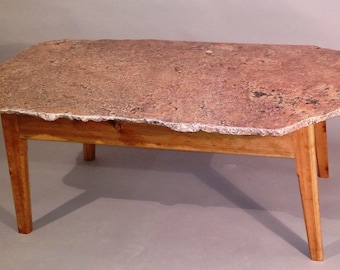 India Red Live Edge Granite Coffee Table,natural edge,granite table,stone table,modern,rustic,handmade,living room table,mid-century modern