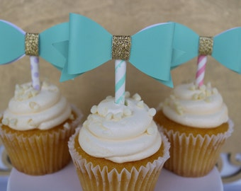 Bow Cupcake Topper, Teal & Gold Bow Cupcake Topper, Baby Shower, Bridal Shower, Cupcake Bows (Set of 12)