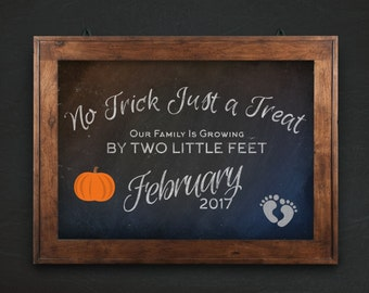 Halloween Digital Pregnancy Announcement, fall pumpkin poster, PRINTABLE digital download, new baby chalkboard sign, photo prop, baby due