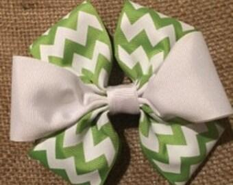 Green Chevron & White Hair bow