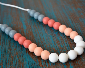 Silicone Teething Necklace, Bite Beads, Nursing Necklace Jewelry, Chewing Beads, Chew Jewelry, Neutral Ombre Gradient, Teether Chewing Beads