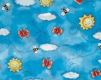 Purr-fect Garden 7162-2 - Butterflies & Bees Blue from Exclusively Quilters