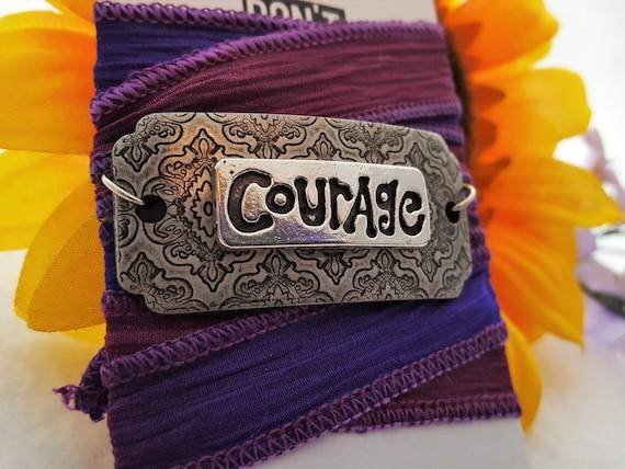 Silk Ribbon Wrap - Sports Jewelry - Hand-Dyed Silk Ribbon - COURAGE Charm Wrist Wrap - Motivational Inspirational Gifts - Courage Bracelet