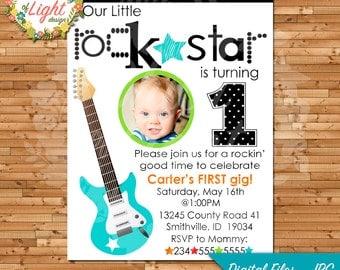 Rockstar First Birthday Invitation