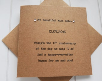 Personalised Wedding Anniversary Card Wife, Husband