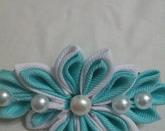 Kanzashi flower hair clip. Aqua and white hair clip